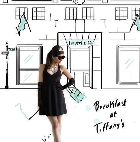 Stripes and Flowers ilustracione de Breakfast at Tiffanys